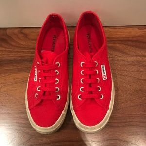 Superga Classic Lace Up Sneakers in Red
